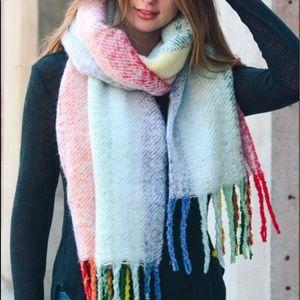 Accessories - Rainbow Tassel Scarf (Pink)